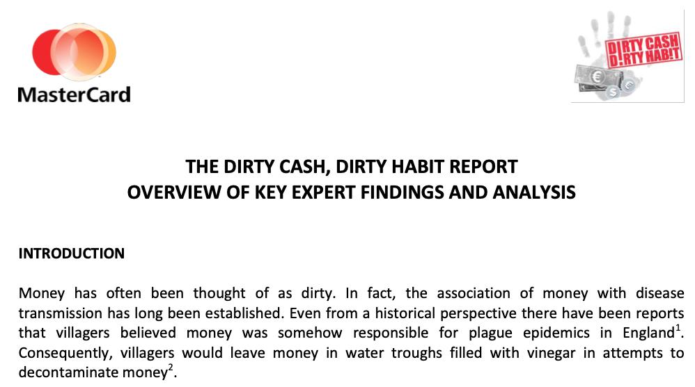 Dirty Cash, Dirty Habit - Mastercard Report - Bientôt la fin de l'argent liquide ?