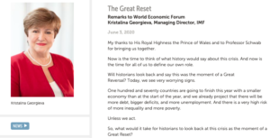 The Great Reset - FMI - Kristalina Georgieva