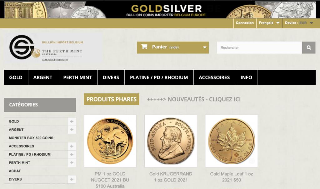 Goldvsilver.be site web - acheter des pièces d'argent