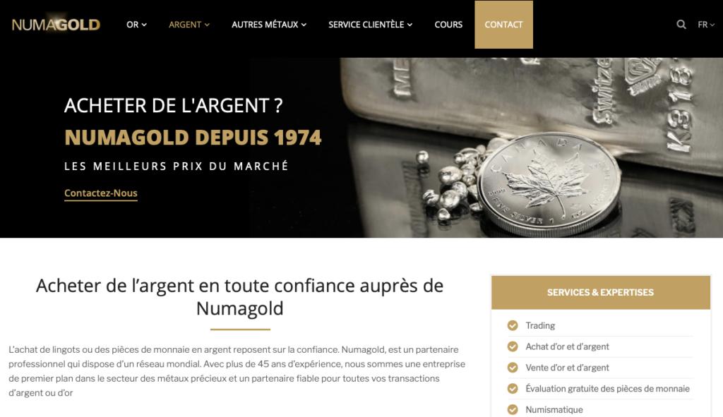 Numagold site web - acheter des pièces d'argent