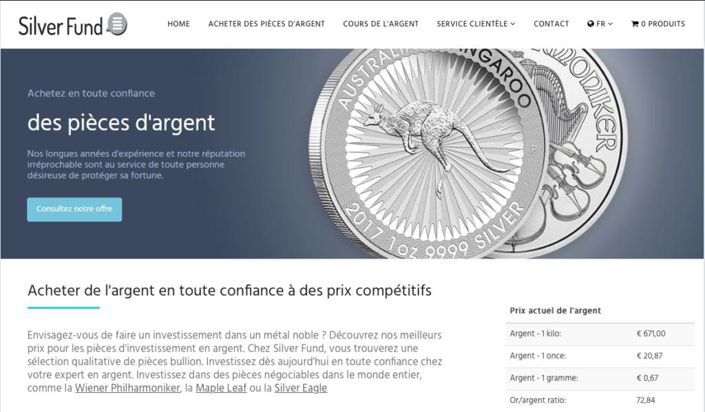 Silver Fund site web - acheter des pièces d'argent